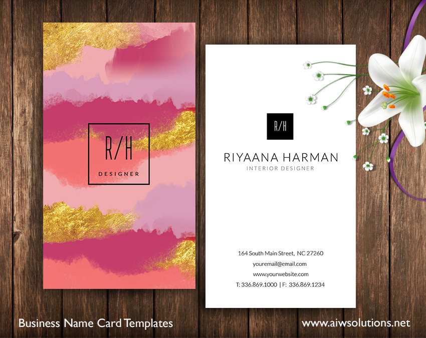 gold foil name card template