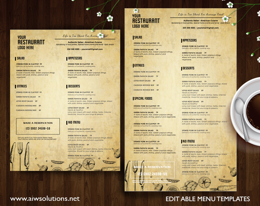 Graphic design name card template business card template for Resturant menu templates