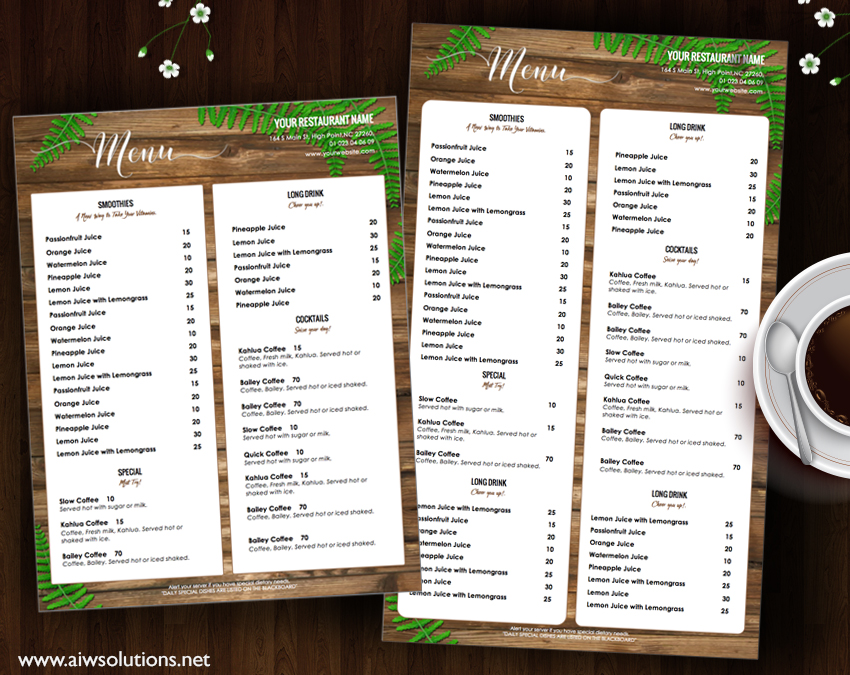 drink MENU template restaurant menu