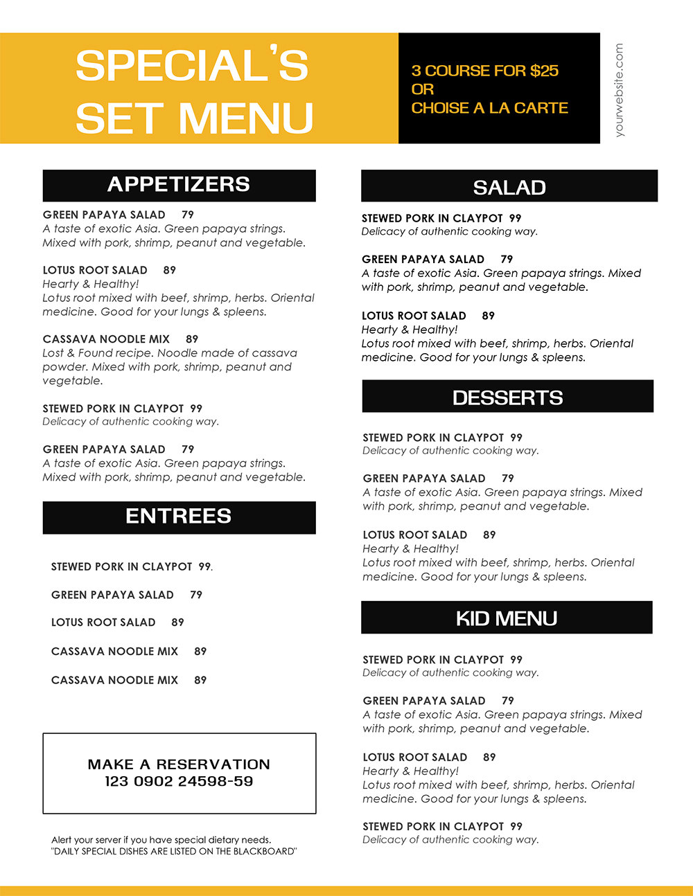 easy food menu template