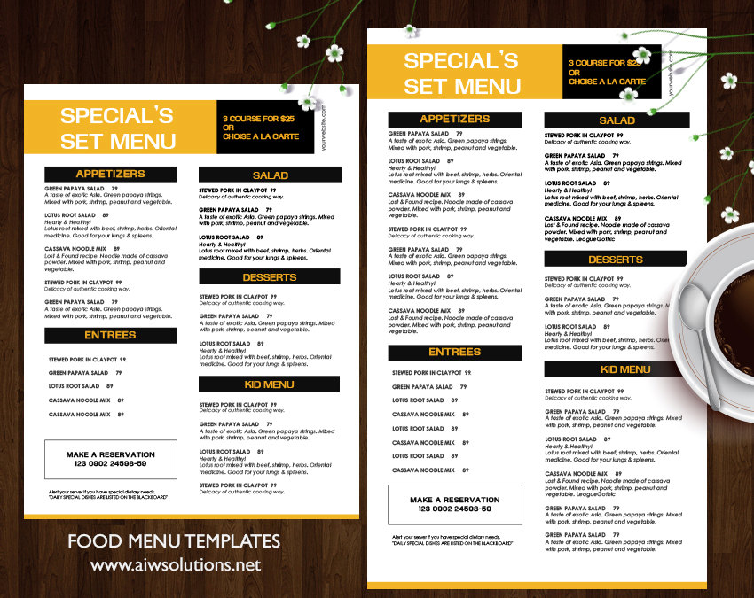 Design & Templates, Menu Templates ,Wedding Menu , Food Menu ,Bar
