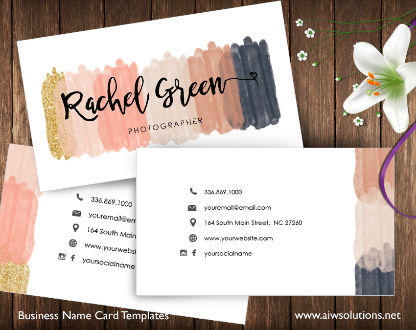 premade business card template name card template photography