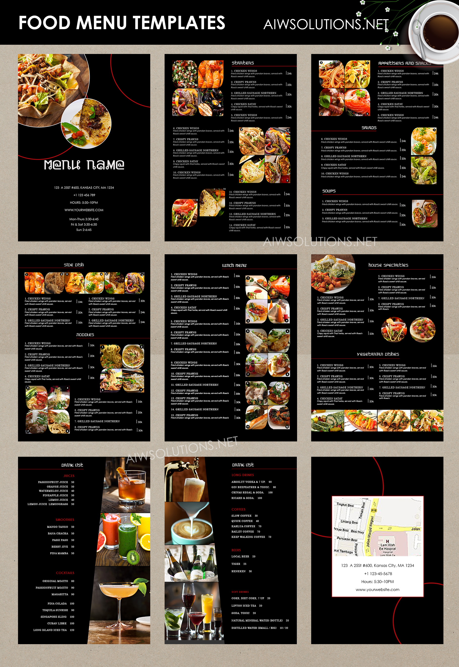 Design Templates Menu Templates Wedding Menu Food Menu bar – Food Menu Template