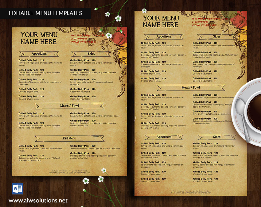 printable food menu