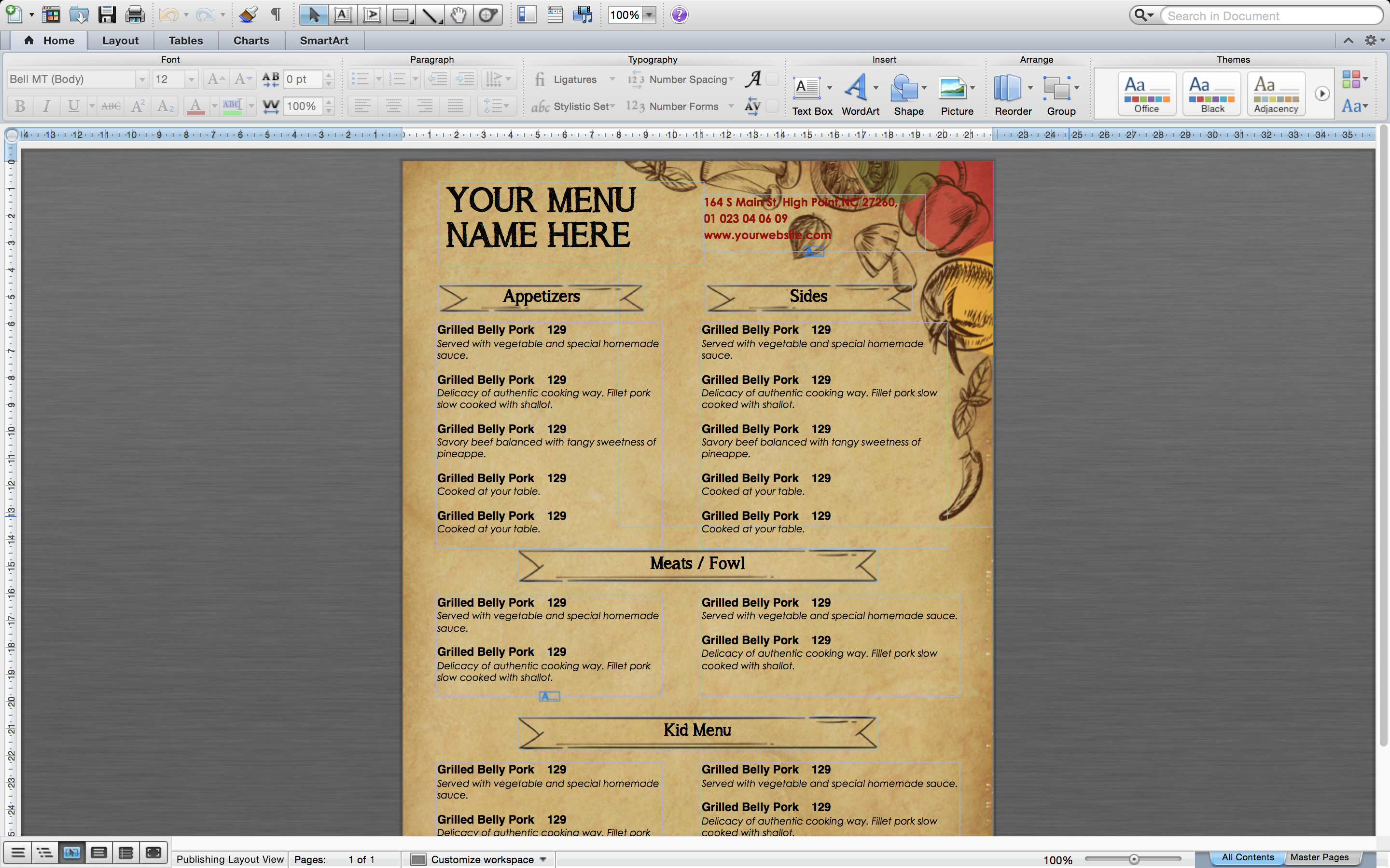 Design Templates Menu Templates Wedding Menu Food Menu Bar Screen Shot 2017  03 03 At 1 Menu Id27 How To Make A Restaurant Menu On Microsoft Word  How To Make A Food Menu On Microsoft Word