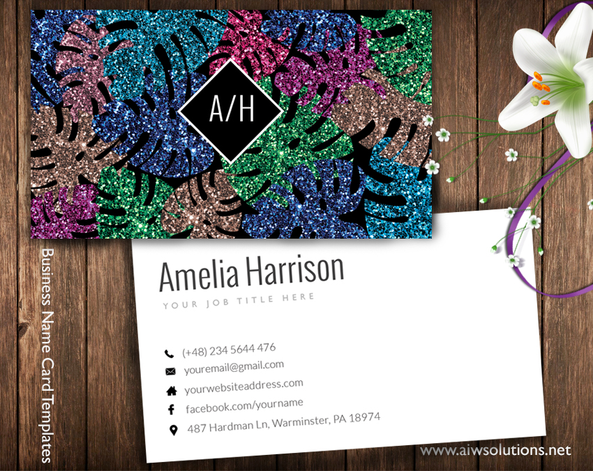 colour glitter name card template