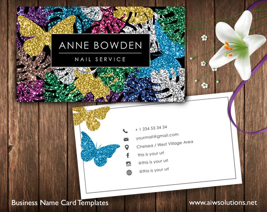 colour glitter name card
