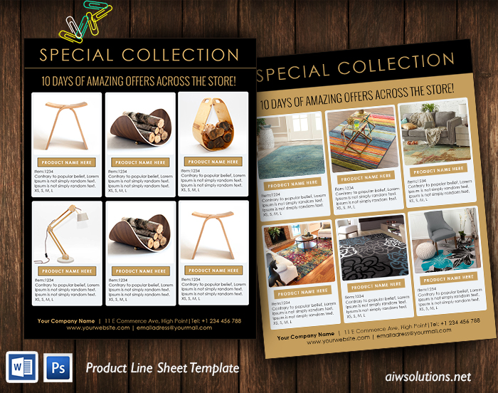 furniture Product Line Sheet Template
