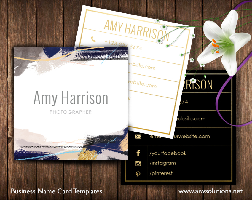 Abstract art name card template