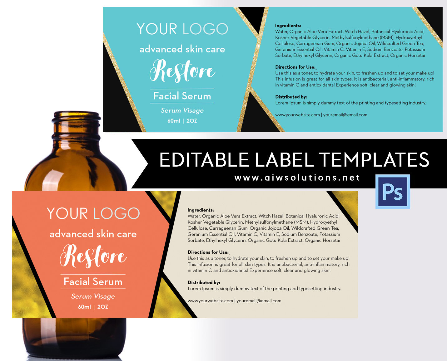 Body Cream Label or Fragrance Label template