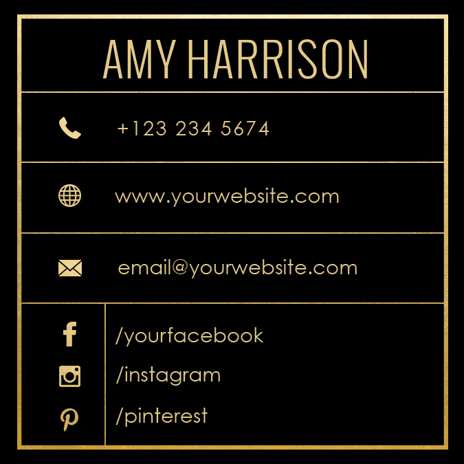Golden square name card template