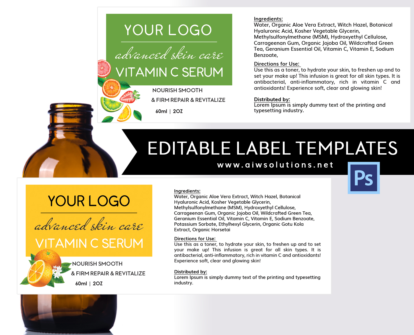 Vitamin Serum Label ID09 aiwsolutions