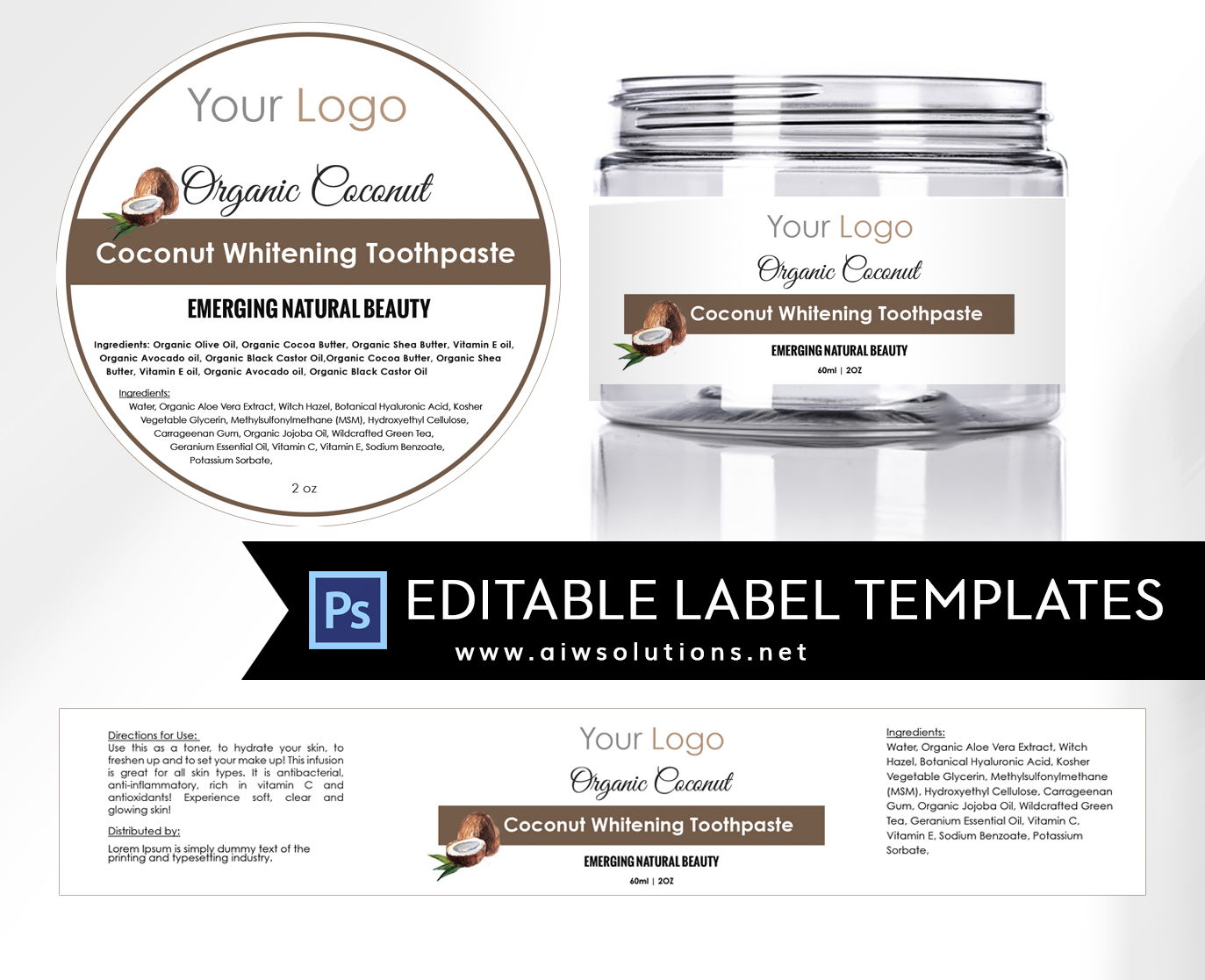coconut Label design jar template