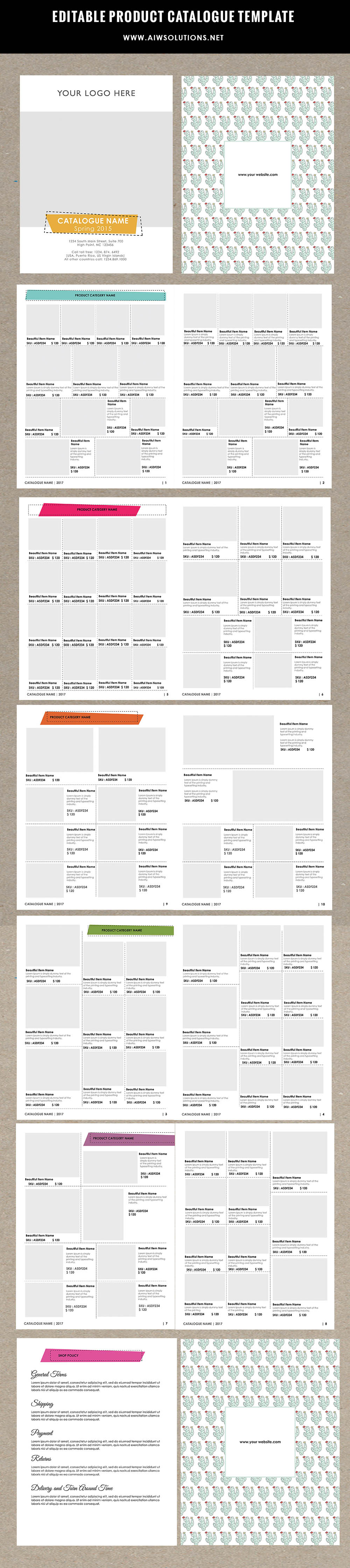 product brochure template - product catalog template for hat catalog shoe catalog