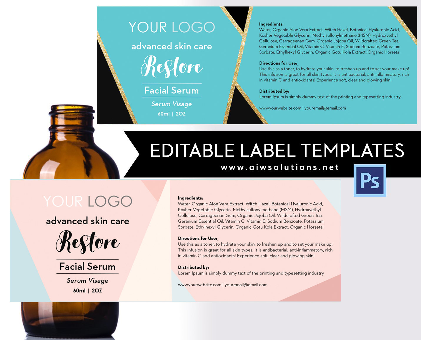 Serum Label Template ID18 – Ingredients Label Template