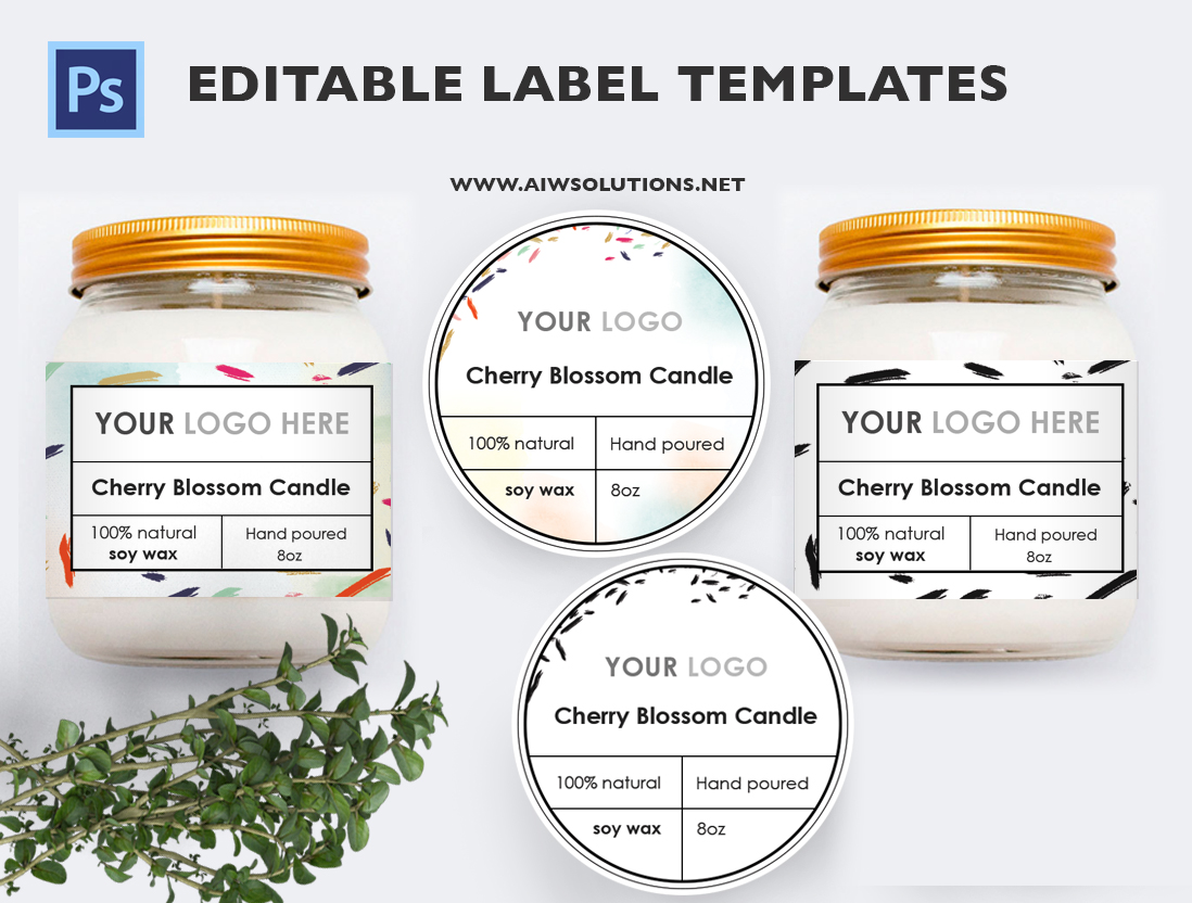 Editable Soy Wax Jar Label Template Design