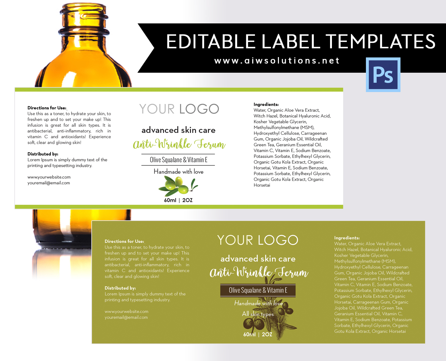 Olive And Vitamin E Labe Ldesign Template  Ingredients Label Template