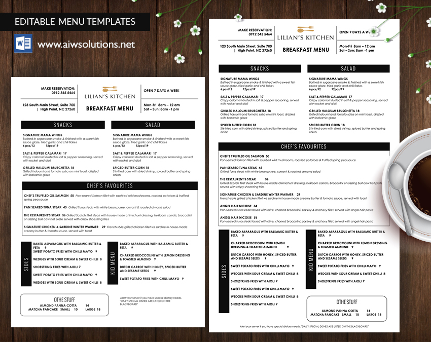 Editable Restaurant Menu Template  Breakfast Menu Template