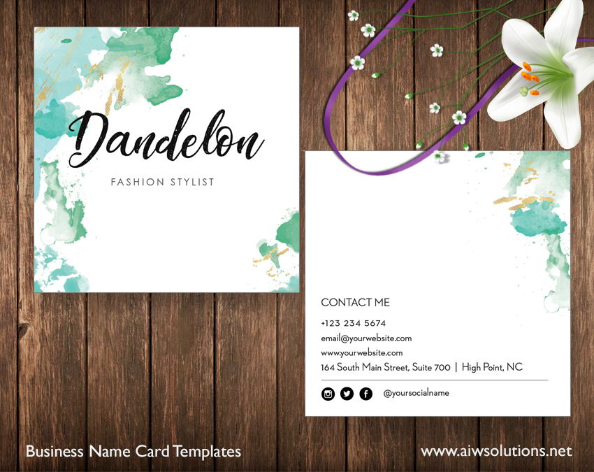 square name card template
