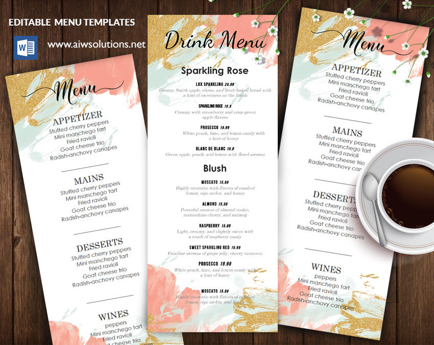EDITABLE drink MENU TEMPLATE