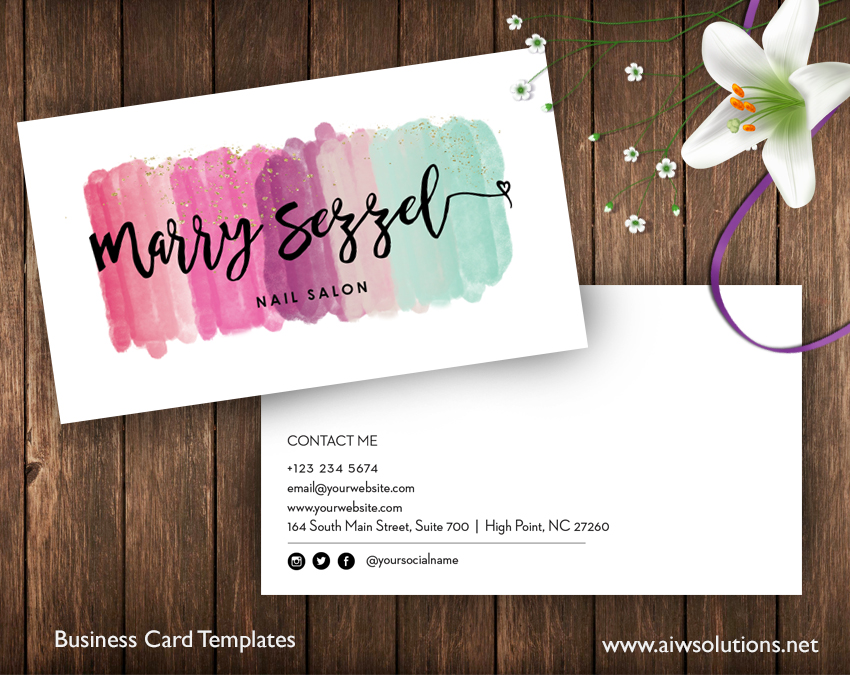 name card template watercolor style