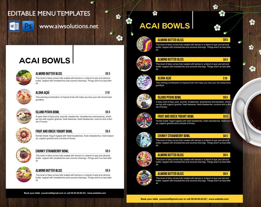 smoothies Acai bows menu template
