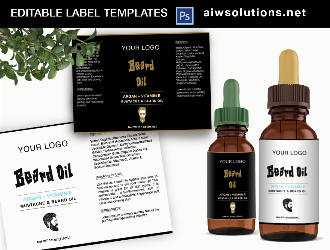 Mustache and Beard Oil label template
