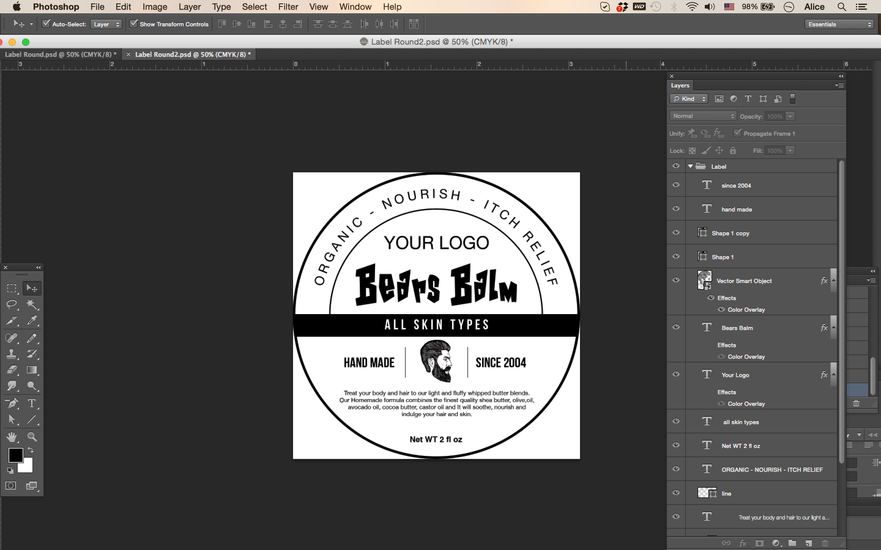 Salves label template