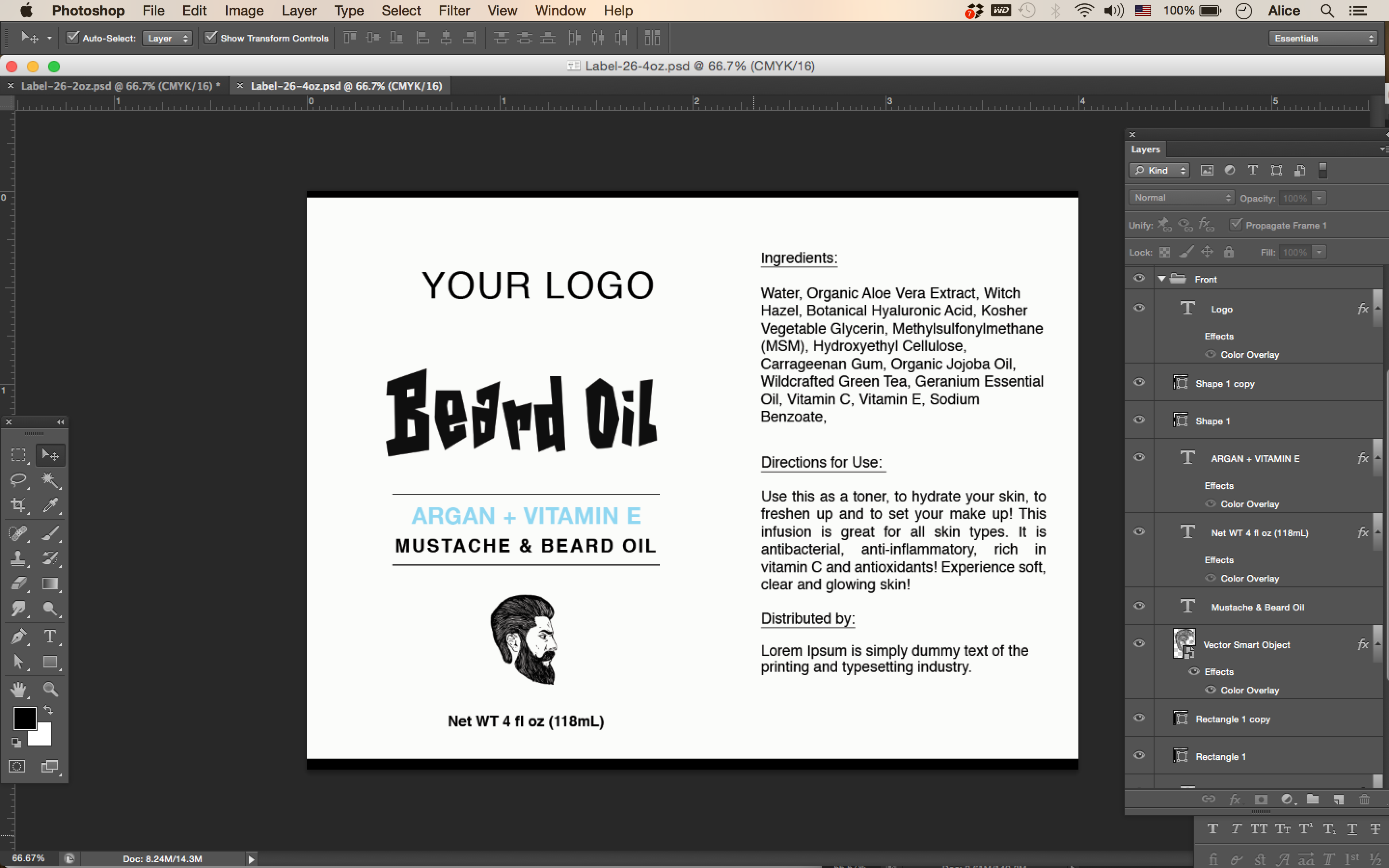 Beard Oil Label ID26 – Product Label Template
