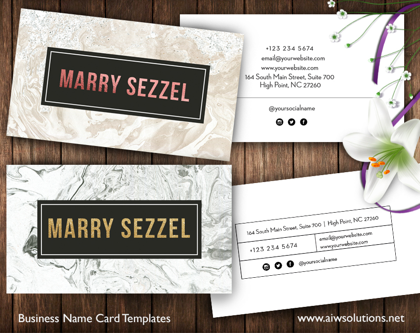 Gold Business marble name cards template