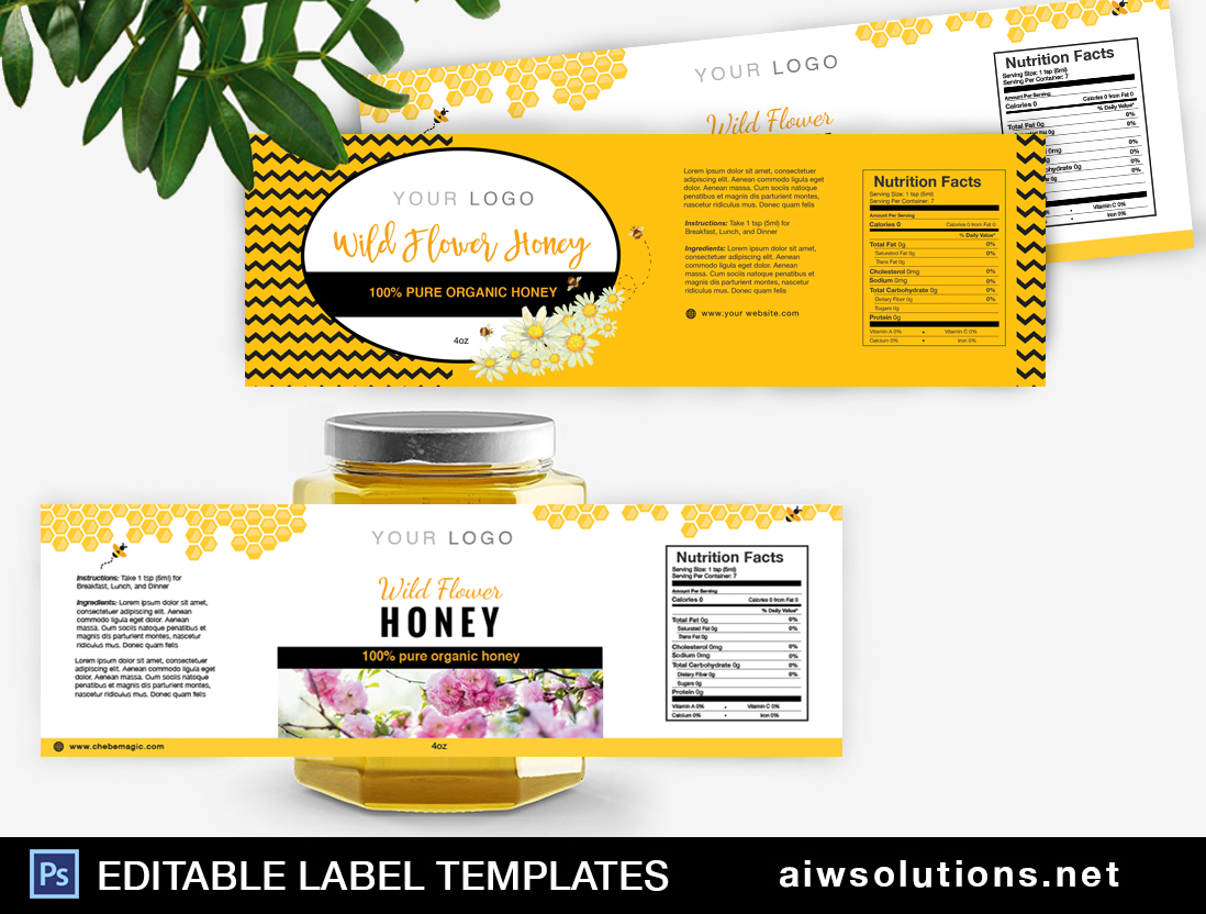 honey Label Template ID33 aiwsolutions