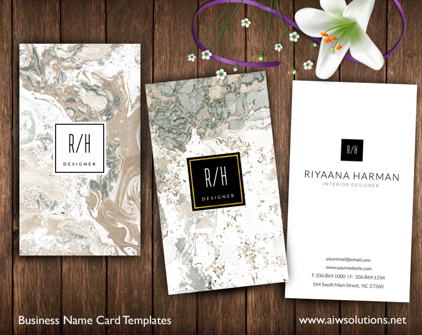 vertical marble namecard template