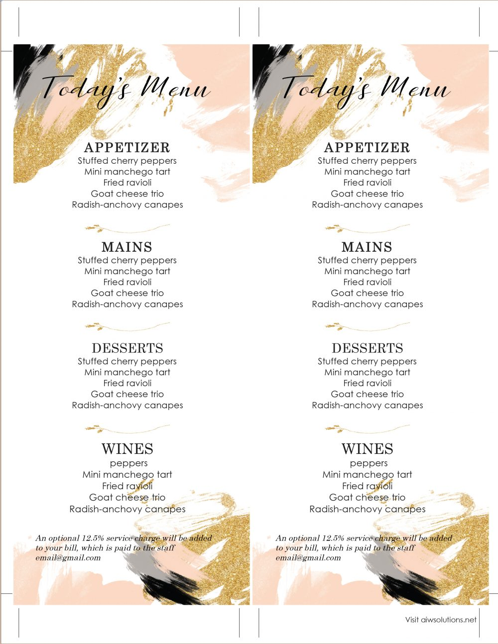 Design Amp Templates Menu Templates Wedding Menu Food