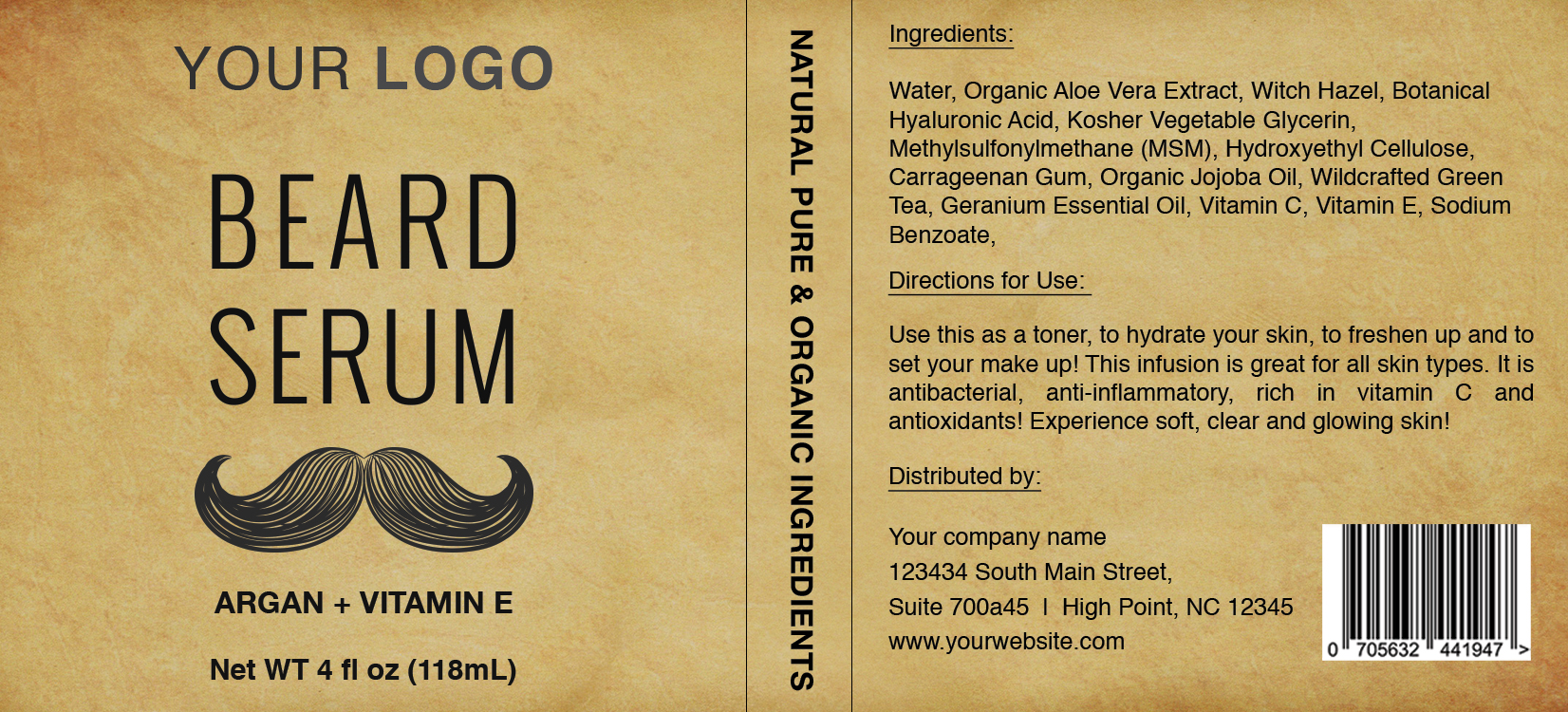 beard serum label template