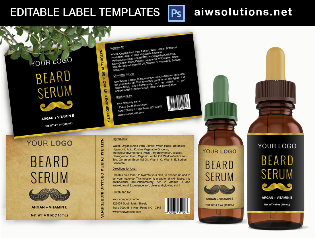 gold and vintage serum beard label template