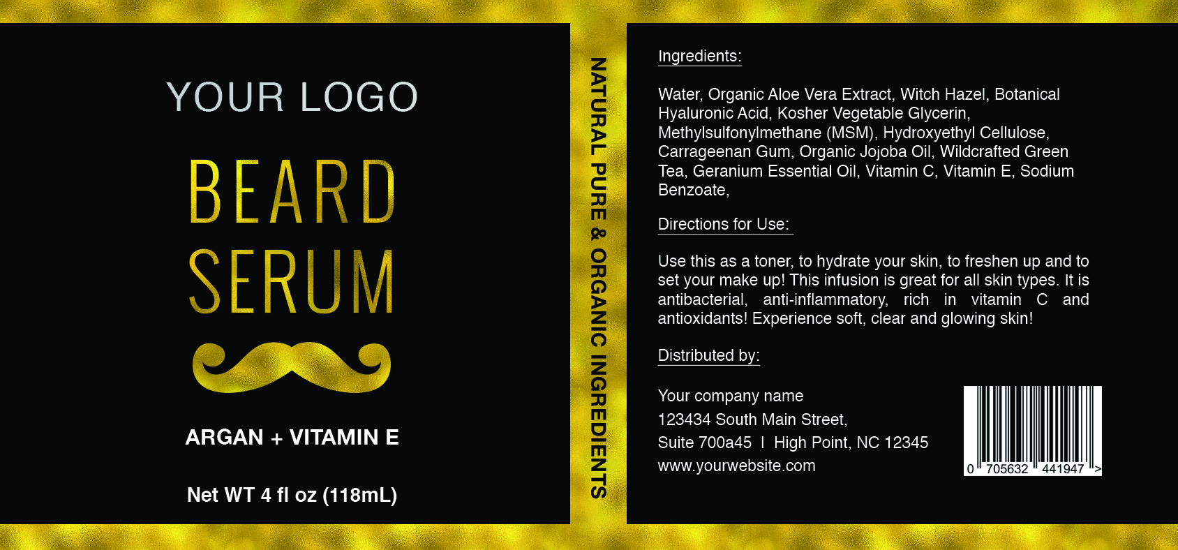 gold beard serum label template