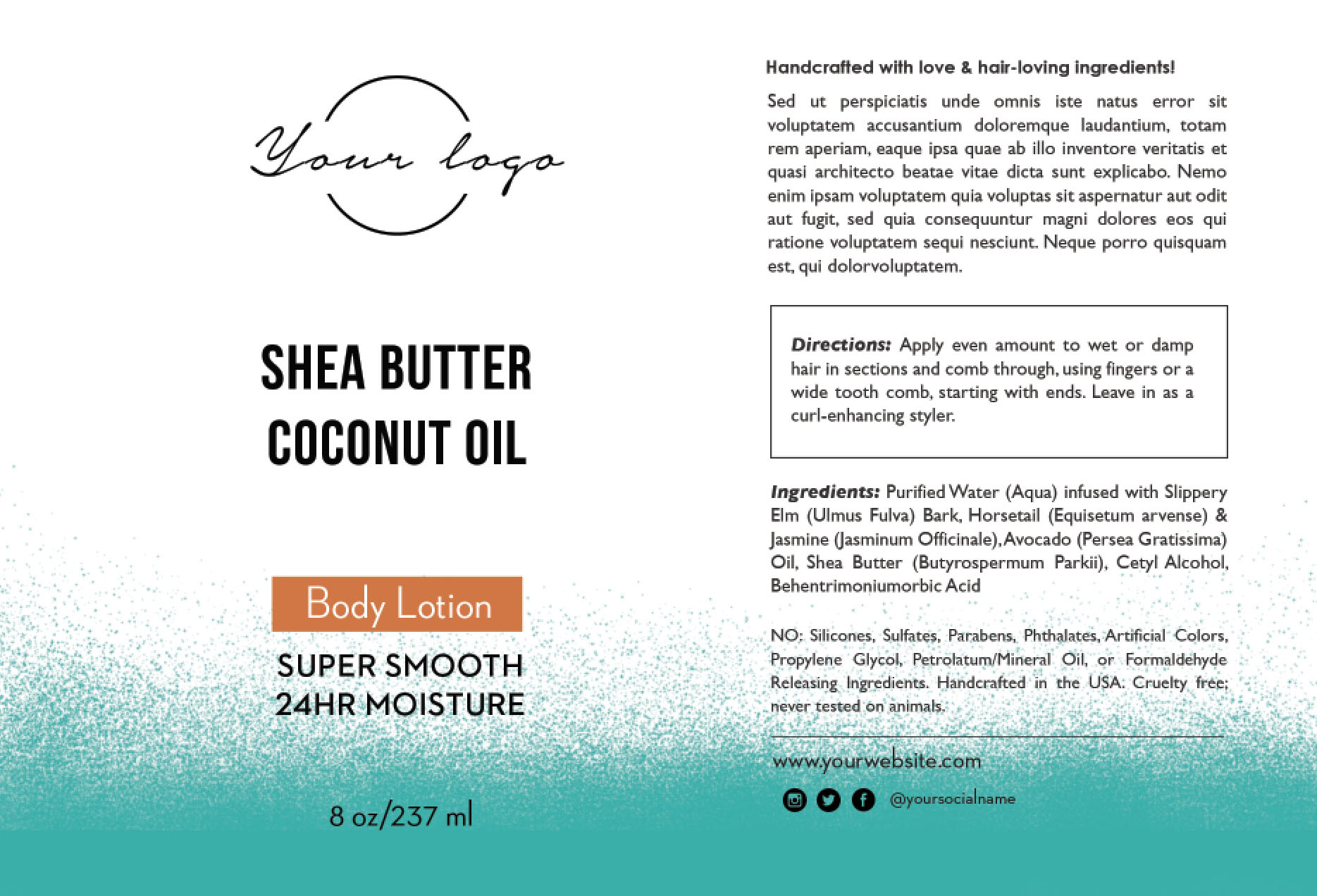 Shea Butter Coconut Oil Label Template  Ingredients Label Template