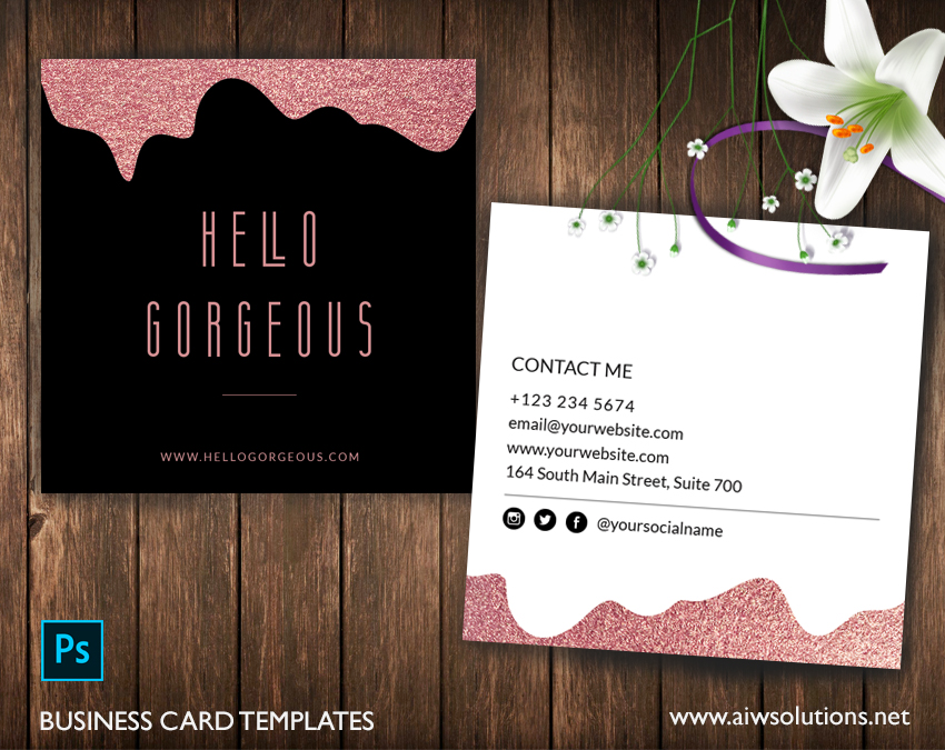 Business Name Card Templates rosegold template