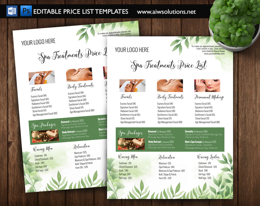 Amazing Green Leaf Modern Spa Pricing List