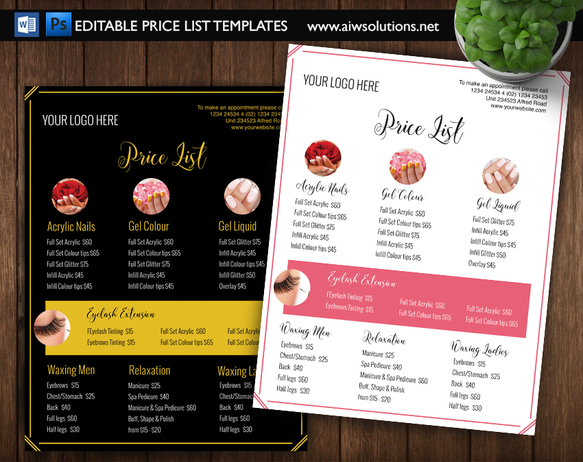 Pricing List Template Price List Template Menu Template - Pricing flyer template