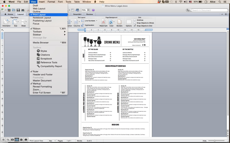 Design templates menu wedding food