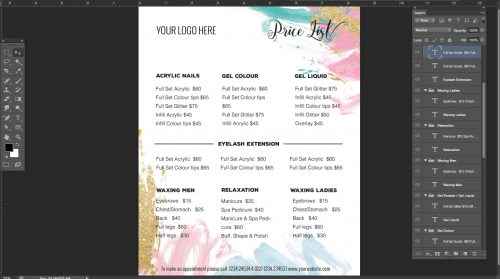 beautyproduct pricing list menu list
