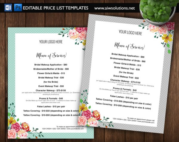 editable pricelist template
