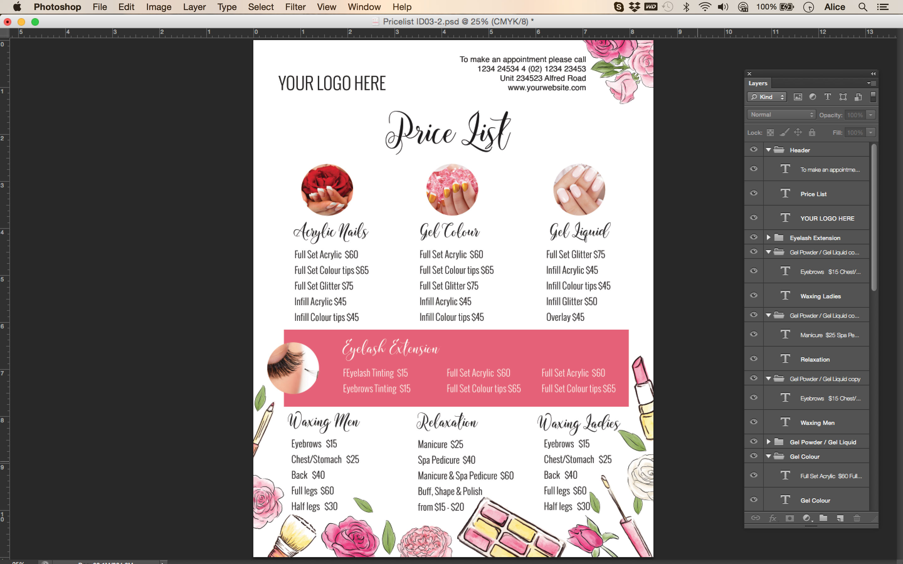 Perfect Pricing List Makeup And Beauty