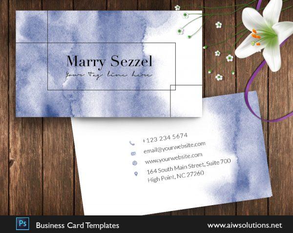 blue watercolour business card