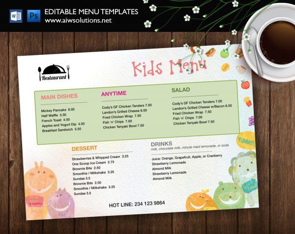 kid menu restaurant food menu