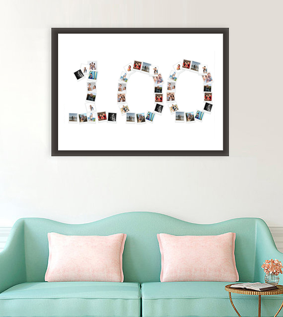 number 100 photo collage template. Black Bedroom Furniture Sets. Home Design Ideas