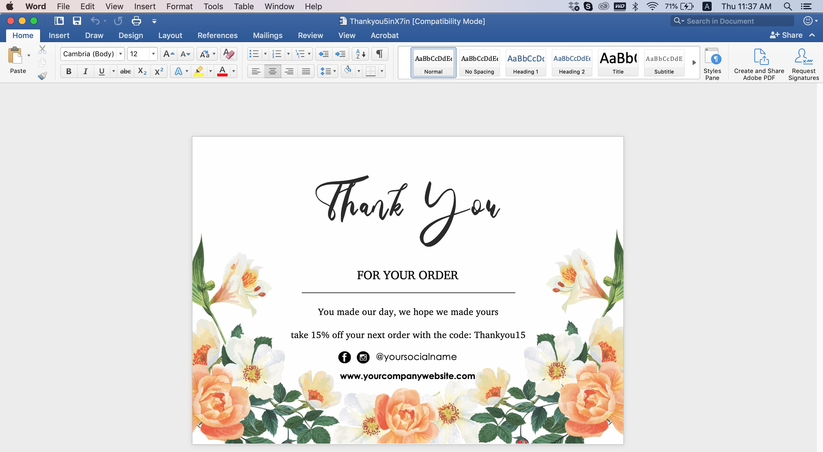 EDITABLE THANK YOU CARD