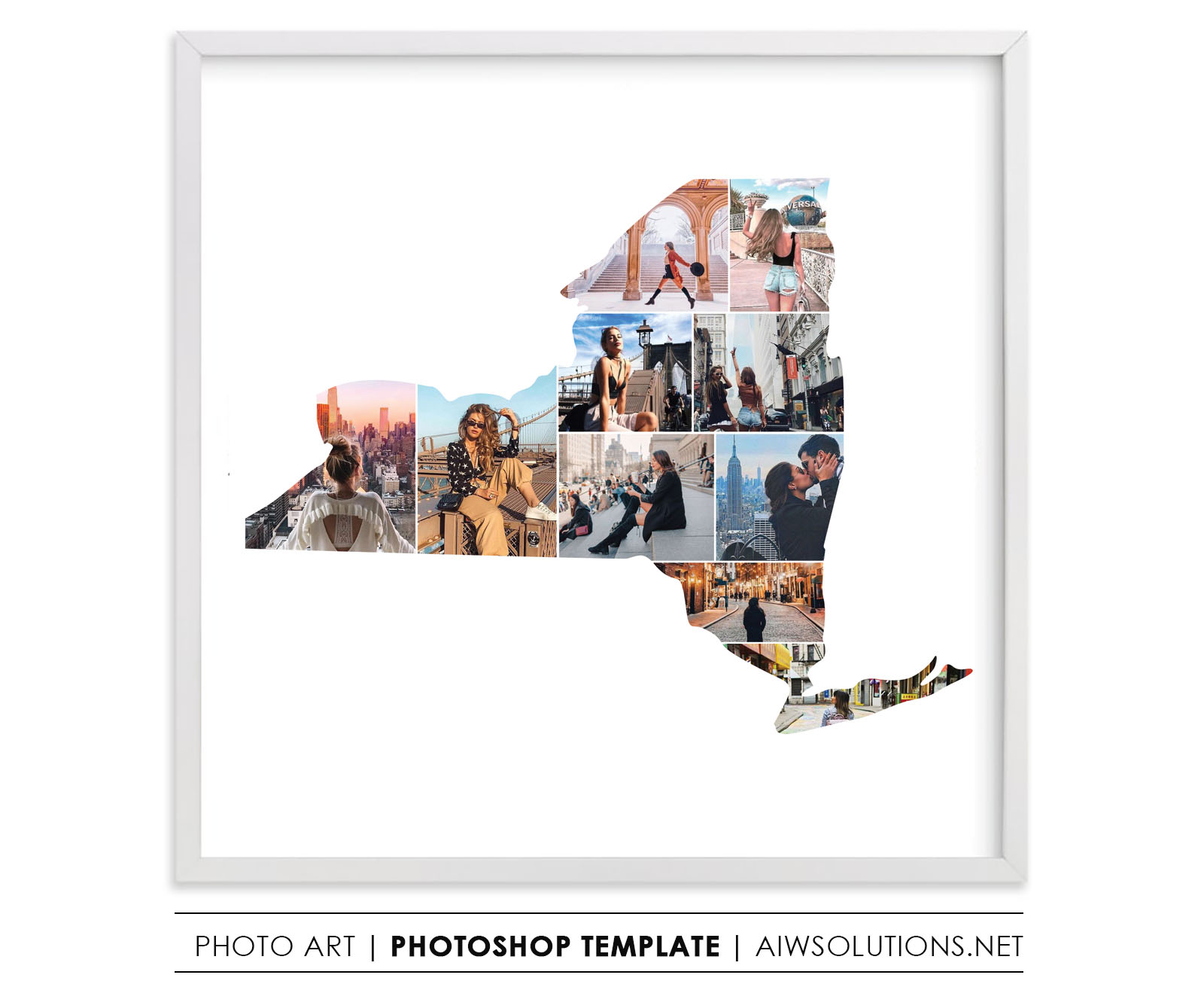 new york state map photo collage new york state photo frame. Black Bedroom Furniture Sets. Home Design Ideas