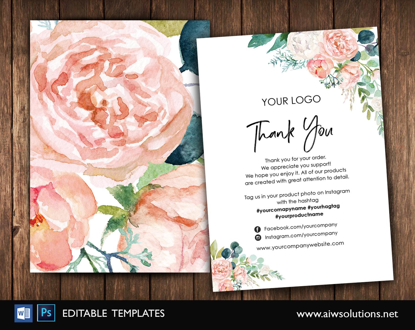 Feminine Thank You Card Pink Rose Thank You Card Thank You Cards-Thank You Note Card